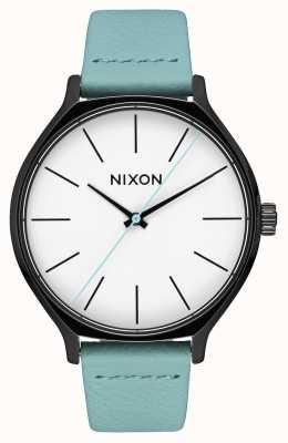 Nixon クリークレザー 黒/ミント ミントグリーンレザーストラップ 白い文字盤 A1250-3317-00