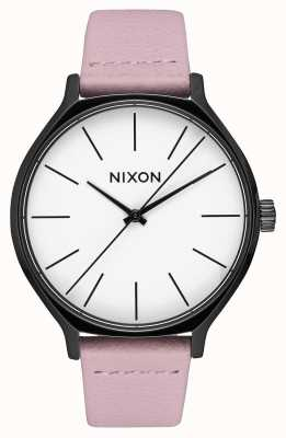 Nixon クリークレザー 黒/珊瑚 ピンクのレザーストラップ 白い文字盤 A1250-3318-00