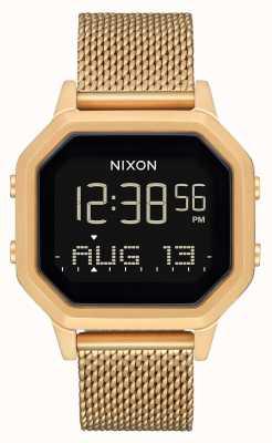 Nixon サイレンミラネーゼ|オールゴールド|デジタル|ゴールドIPスチールメッシュブレスレット A1272-502-00