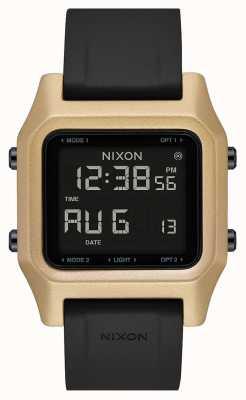 Nixon ステープル|ブラック/ゴールド|デジタル|黒のシリコンストラップ A1309-010-00