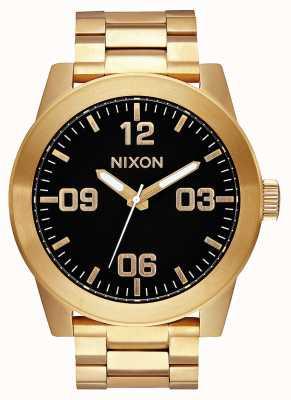 Nixon Corporal ss |オールゴールド/ブラック|ゴールドIPスチールブレスレット|黒の文字盤 A346-510-00