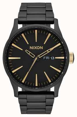 Nixon セントリーss |マットブラック/ゴールド|ブラックIPスチールブレスレット|黒の文字盤 A356-1041-00
