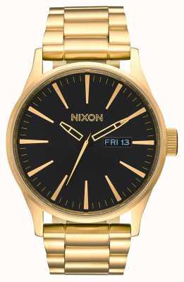 Nixon セントリーss |オールゴールド/ブラック|ゴールドIPスチールブレスレット|黒の文字盤 A356-510-00