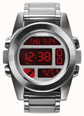 Nixon 単位ss |シルバー/レッド|デジタル|ステンレス鋼のブレスレット A360-1263-00