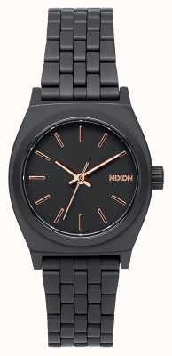 Nixon スモールタイムテラー オールブラック/ローズゴールド ブラックIPスチールブレスレット 黒の文字盤 A399-957-00