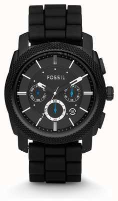 Fossil メンズブラッククロノグラフストラップ時計 FS4487