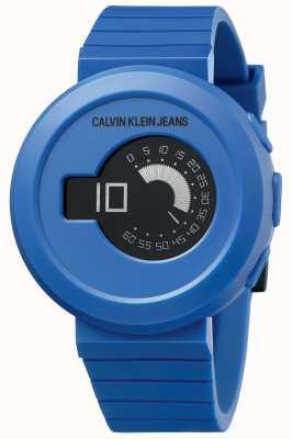 Calvin Klein メンズデジロック|ブルーシリコンストラップ|黒の文字盤 KAN51YV1