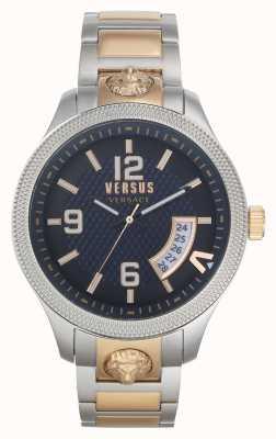 Versus Versace |メンズ|リアル|ツートンカラーのスチールブレスレット|青い文字盤| VSPVT0920