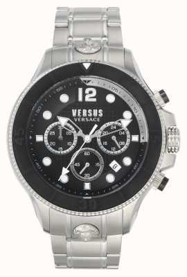 Versus Versace メンズボルタ対|ステンレス鋼のブレスレット|黒の文字盤 VSPVV0420