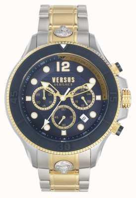 Versus Versace メンズボルタ対|ツートンカラーのスチールブレスレット|青い文字盤 VSPVV0520