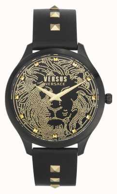 Versus Versace |レディース|ドムス|ブラックレザーストラップ|黒の文字盤| VSPVQ0520