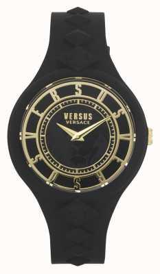 Versus Versace 女性の火の島|黒のシリコンストラップ|黒の文字盤 VSP1R1020
