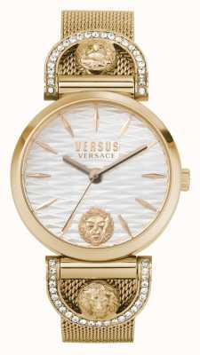 Versus Versace 女性のイゼーオ|ローズゴールドメッシュブレスレット|白い文字盤 VSPVP0720