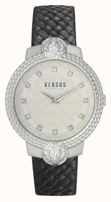 Versus Versace |レディース|ムフタール|ブラックレザーストラップ|白い文字盤| VSPLK1120