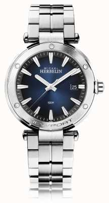 Michel Herbelin メンズニューポート|ステンレス鋼のブレスレット|青い文字盤 12288/B15