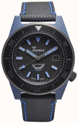 Squale カーボンスタイル|ブラック/ブルーダイヤル|黒のマイクロファイバーストラップ-青のステッチ T183BL-CINT183BL