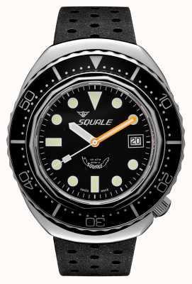 Squale 2002a黒い丸い点|ブラックトロピックストラップ|黒の文字盤 B083401-CINTRB22