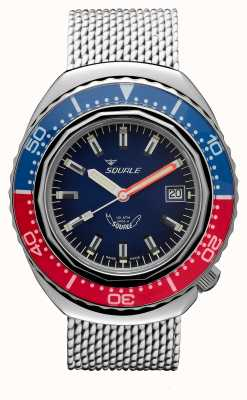 Squale 2002a青赤|スチールメッシュストラップ|ブルーダイヤル B083401-CINSS22