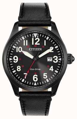 Citizen メンズ駐屯軍エコドライブ|ブラックレザーストラップ BM6835-15E