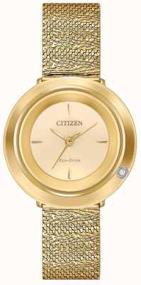 Citizen 女性のアンビルナ|ゴールドトーンメッシュブレスレット|シャンパンダイヤル EM0642-52P