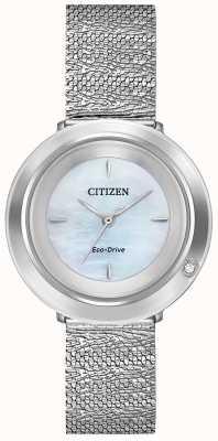 Citizen 女性のアンビルナ|スチールメッシュブレスレット|マザーオブパールダイヤル EM0640-58D