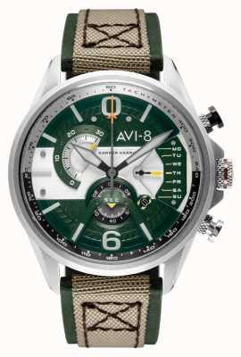 AVI-8 ホーカーハリアーII |クロノグラフ|緑の文字盤|グリーンレザーベージュnatoストラップ AV-4056-02