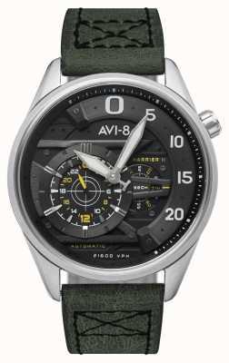 AVI-8 ホーカーハリアーII-スペードのエース|自動|グリーンレザーストラップ AV-4070-01