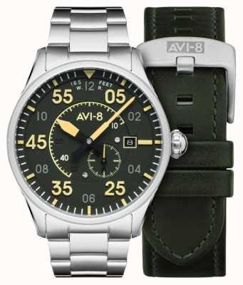 AVI-8 スピットファイア|自動|グリーンダイヤルステンレススチールブレスレット|余分な革ストラップ AV-4073-22