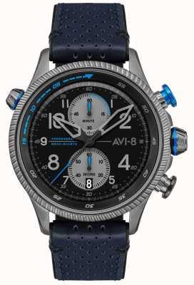 AVI-8 ホーカーハンター|クロノグラフ|ブラックダイヤル|ブルーレザーストラップ AV-4080-02