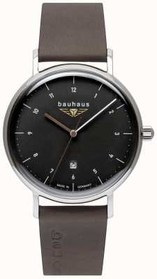 Bauhaus メンズグレーイタリアンレザーストラップ|黒の文字盤 2142-2