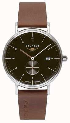 Bauhaus メンズブラウンイタリアンレザーストラップ|黒の文字盤 2132-2