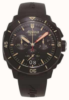 Alpina シーストロングダイバー300 |クロノグラフ|黒のシリコンストラップ AL-372LBBG4FBV6