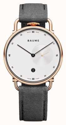 Baume & Mercier ボーム|環境にやさしいクォーツ|白い文字盤|グレーのコルクバックストラップ M0A10600