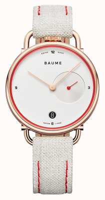 Baume & Mercier ボーム|環境にやさしいクォーツ|白い文字盤|白いコルクで裏打ちされたストラップ M0A10602