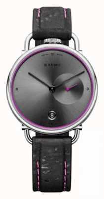 Baume & Mercier ボーム|環境にやさしいクォーツ|グレーの文字盤|黒のコルクストラップ M0A10604