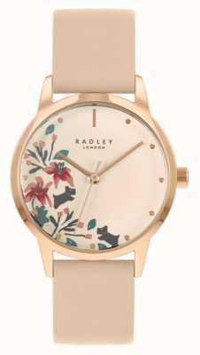 Radley 女性のヌード/ライトピンクレザーストラップ|クリームフローラルダイヤル RY21220A