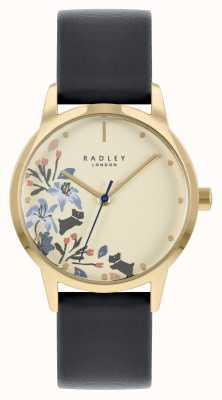 Radley 女性用ブラックレザーストラップ|ベージュの文字盤 RY21222A