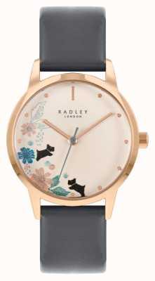 Radley 女性用ブラックレザーストラップ|クリームフローラルダイヤル RY21262A