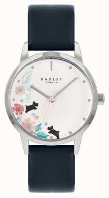 Radley 女性用ブルーレザーストラップ|ホワイトフローラルダイヤル RY21229A