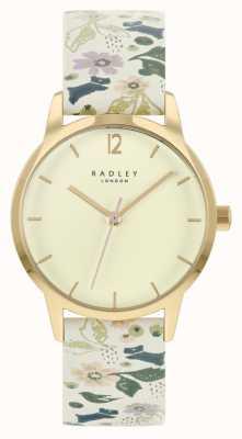 Radley 女性用ホワイトフローラルレザーストラップ|シャンパンダイヤル RY21232A