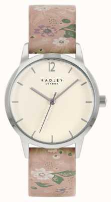Radley 女性用ピンクフローラルレザーストラップ|クリームダイヤル RY21231A