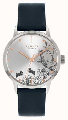 Radley 女性用ブルーレザーストラップ|シルバーダイヤル RY21241A