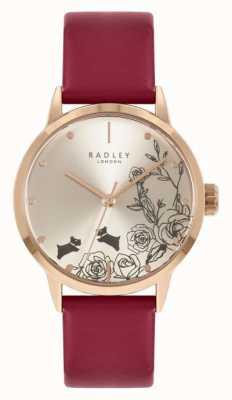 Radley 女性用レッドレザーストラップ|シルバーダイヤル RY21244A