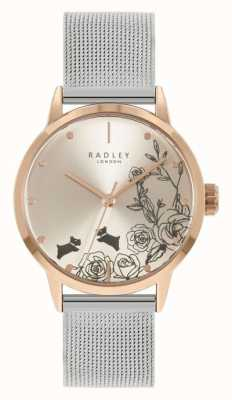Radley 女性用ステンレススチールシルバーメッシュブレスレット|シルバーフローラルダイヤル RY4581A