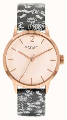 Radley 女性用ブラックパターンストラップ|ローズダイヤル RY21246A