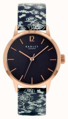 Radley 女性用ブラックレザーストラップ|黒の文字盤 RY21250A