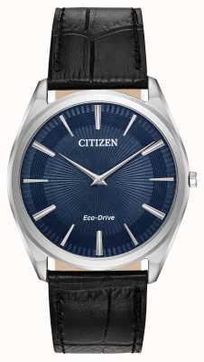 Citizen スティレット|メンズエコドライブ|ブラックレザーストラップ|ブルーダイヤル AR3070-04L