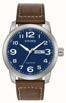 Citizen メンズエコドライブブラウンレザーストラップwr100 BM8471-19L