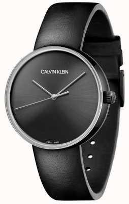 Calvin Klein 女性用ブラックレザーストラップ|黒の文字盤 KBL234C1