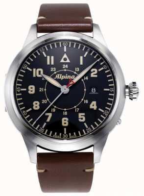 Alpina Smartimerパイロットヘリテージ株式会社|ブラウンレザーストラップ|青い文字盤 AL-525BBG4SH6